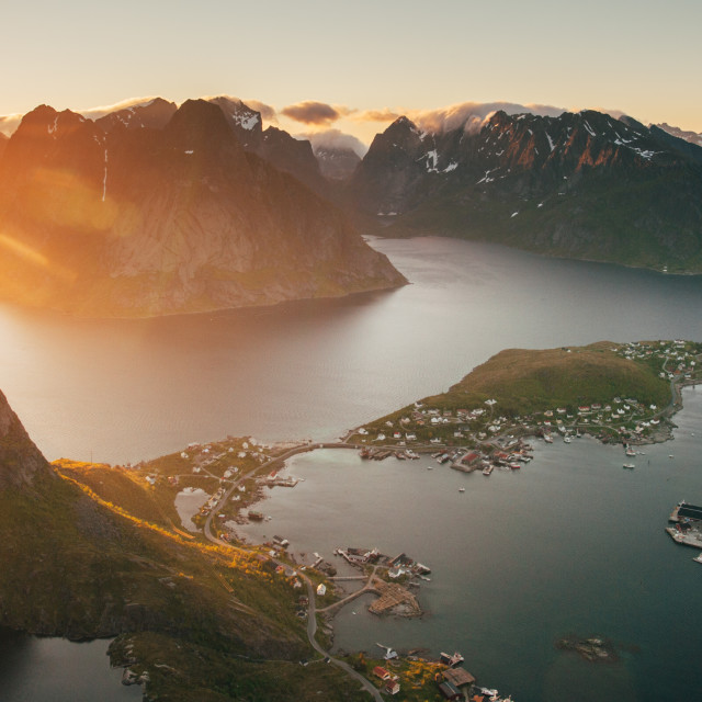 """Sweeping view of Lofoten"" stock image"