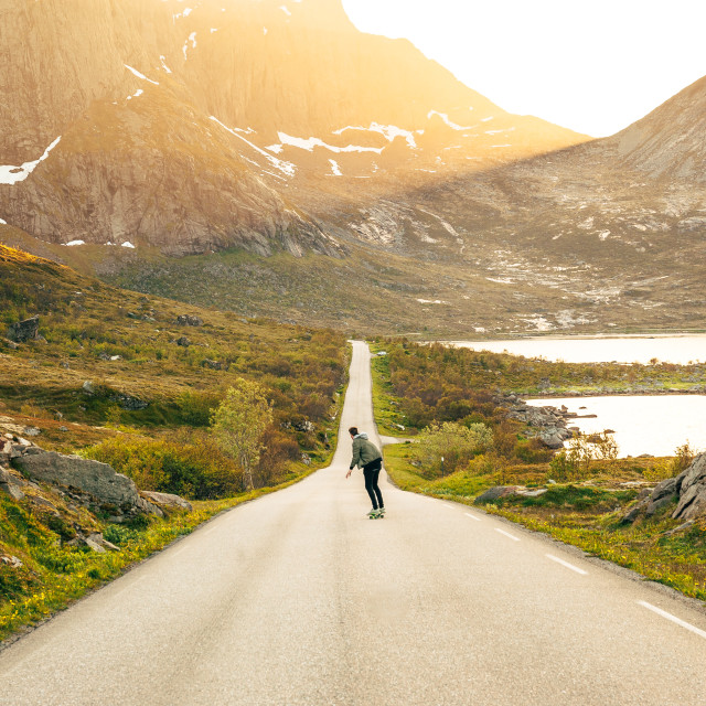 """Skating into Lofoten's light"" stock image"