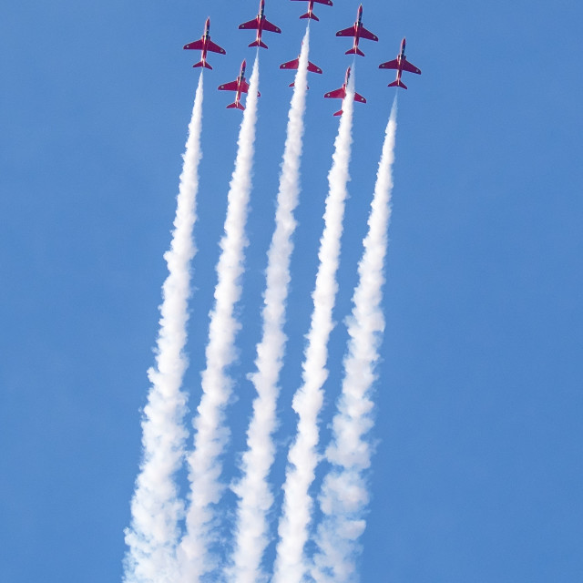"""The Red Arrows (The Royal Air Force Aerobatic Team)"" stock image"