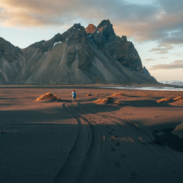 """Mountain meets ocean, Iceland"" stock image"