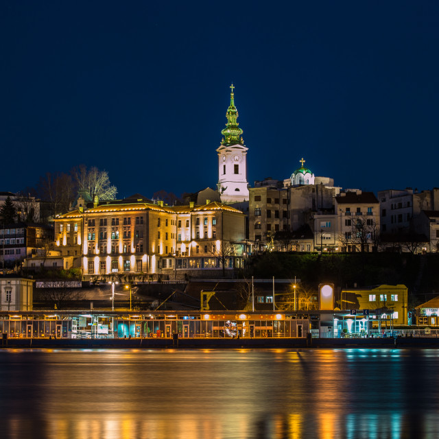 """Belgrade at blue hour"" stock image"
