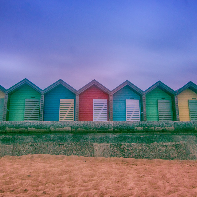 """Blyth Beach Huts colors"" stock image"