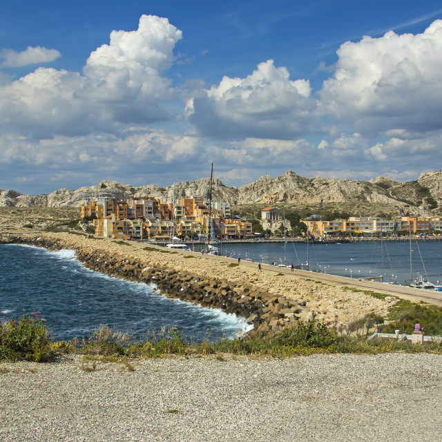 """Causeway between Îles Ratonneau and Îles du Frioul, Marseille, France"" stock image"