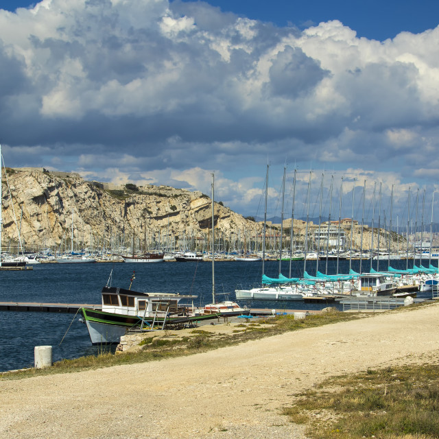 """Harbour between Îles Ratonneau and Îles du Frioul, Marseille, France"" stock image"
