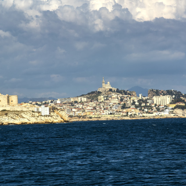 """Castle D'If and the Marseille Skyline"" stock image"