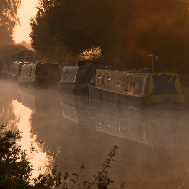 """Canal boats moored"" stock image"