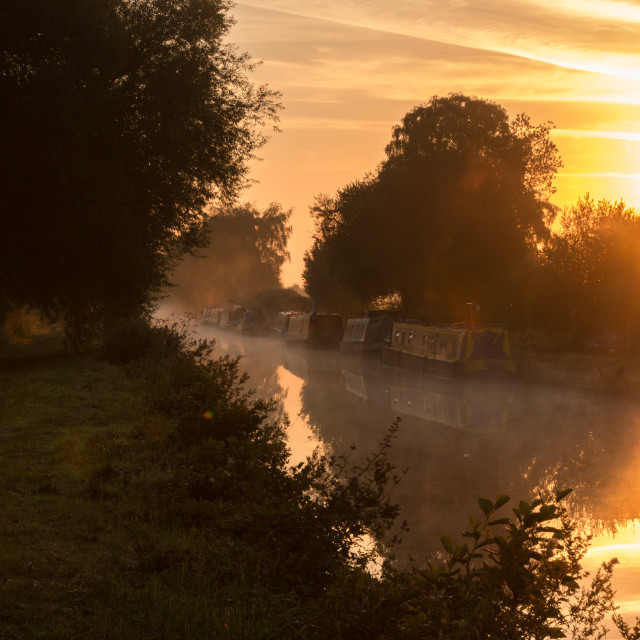 """Sunrise over the canal"" stock image"