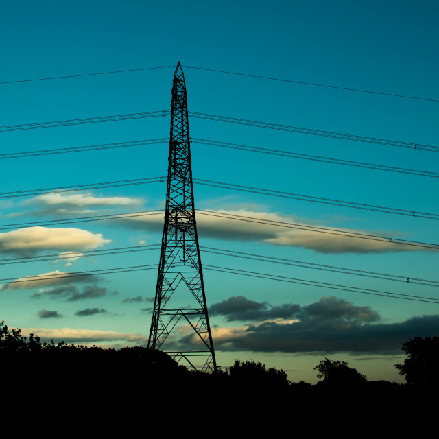 """Blue hour Pylon."" stock image"