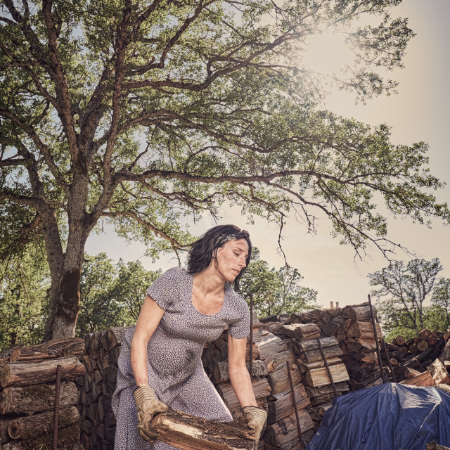"""A Pregnant Woman in a Dress and Boots Stacking Wood"" stock image"