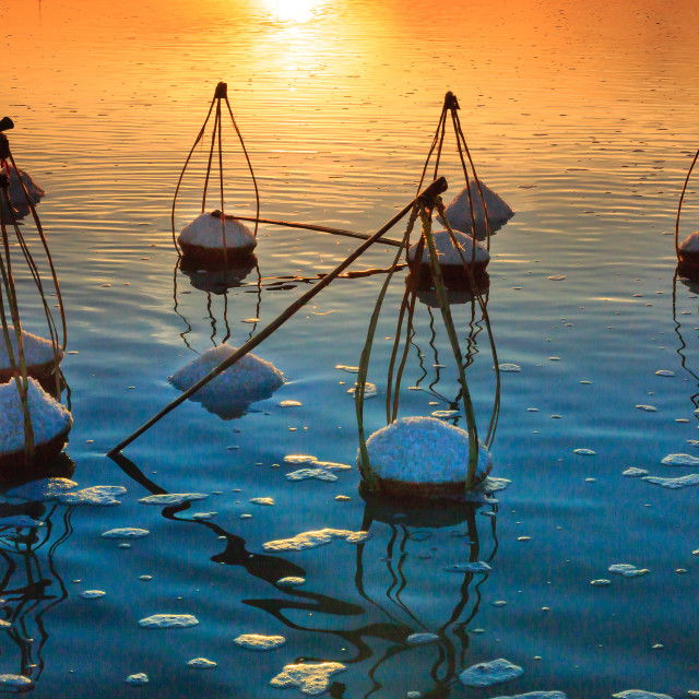 """Dawn on the Hon Khoi salt field"" stock image"