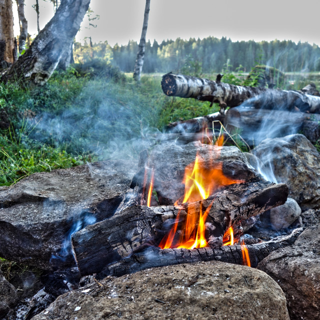"""""""Outdoor cooking on a fire in Finland"""" stock image"""