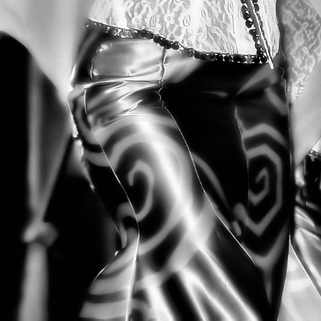 """""""Modern Design on Malay Dancer's costume, in black-and-white"""" stock image"""