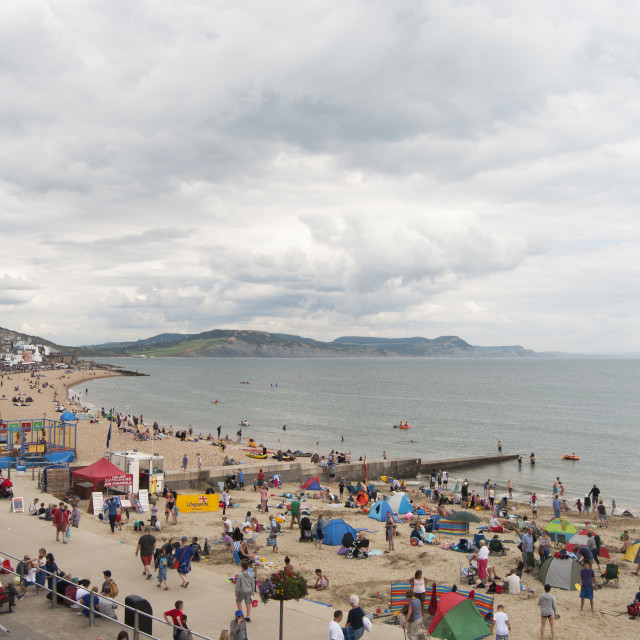 """Cloudy Lyme Regis"" stock image"