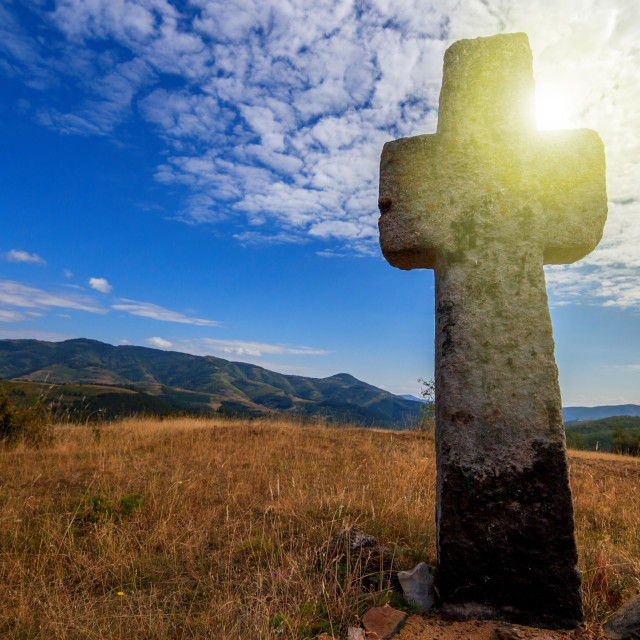 """Christian cross on a mountains"" stock image"