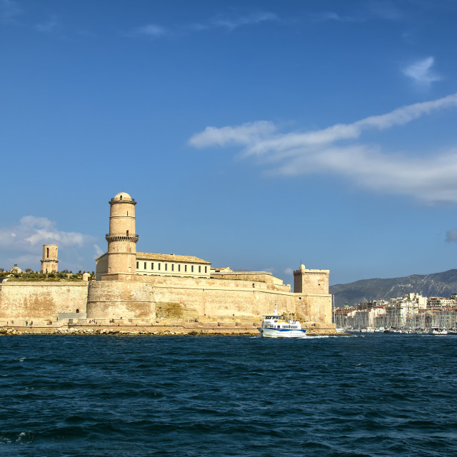 """Entrance to Marseille harbour, old port"" stock image"