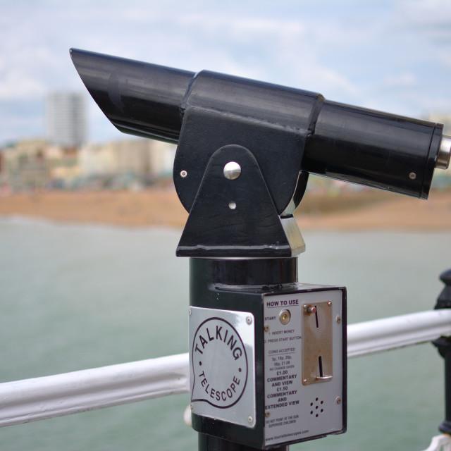 """""""Talking telescope in black"""" stock image"""