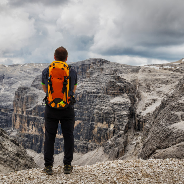 """Hiker in Dolomites"" stock image"