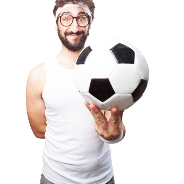 """""""young crazy sports man. happy expression"""" stock image"""
