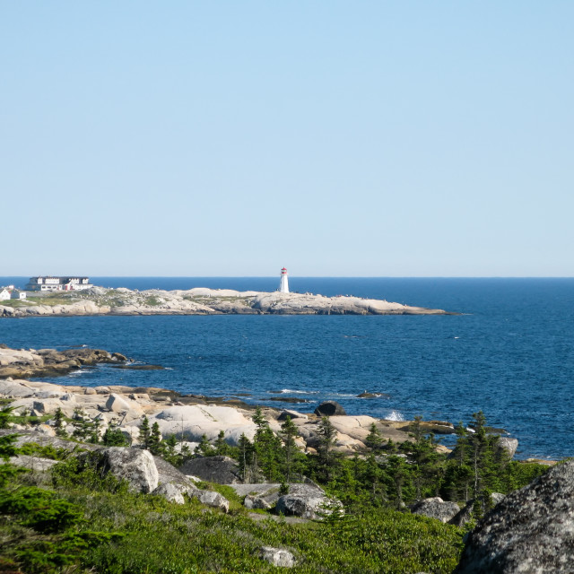 """View of the lighthouse at Peggys Cove"" stock image"