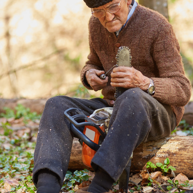 """Senior farmer servicing his chainsaw after use"" stock image"