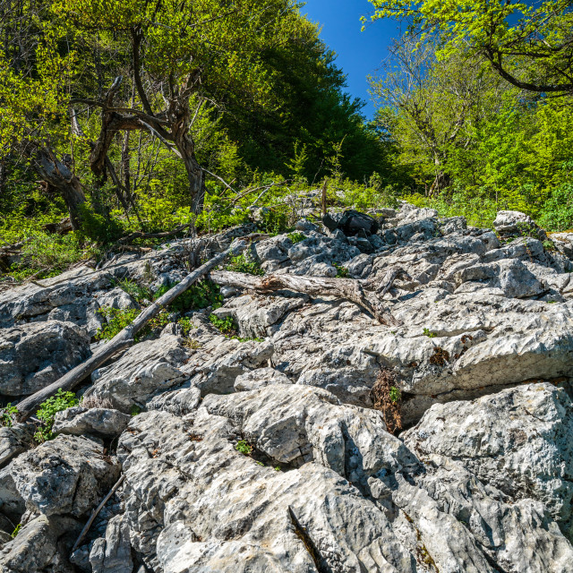 """Limestone cliffs on mountain"" stock image"