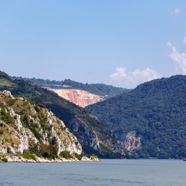 """""""Danube river and mountains"""" stock image"""