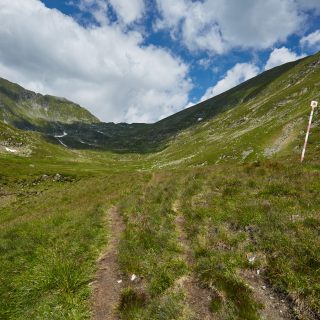 """Mountain trail near the river"" stock image"