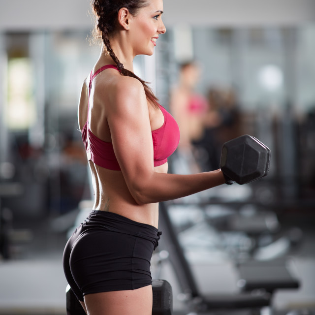 """""""Woman doing biceps curl with dumbbells"""" stock image"""