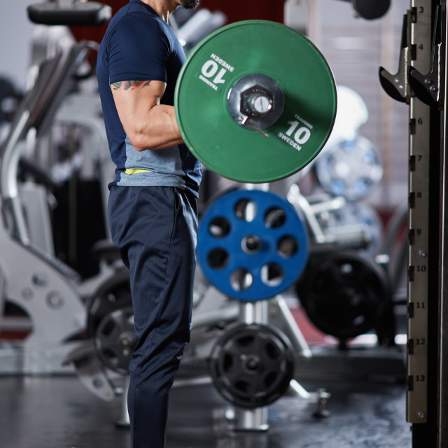 """""""Man doing biceps curl with barbell"""" stock image"""
