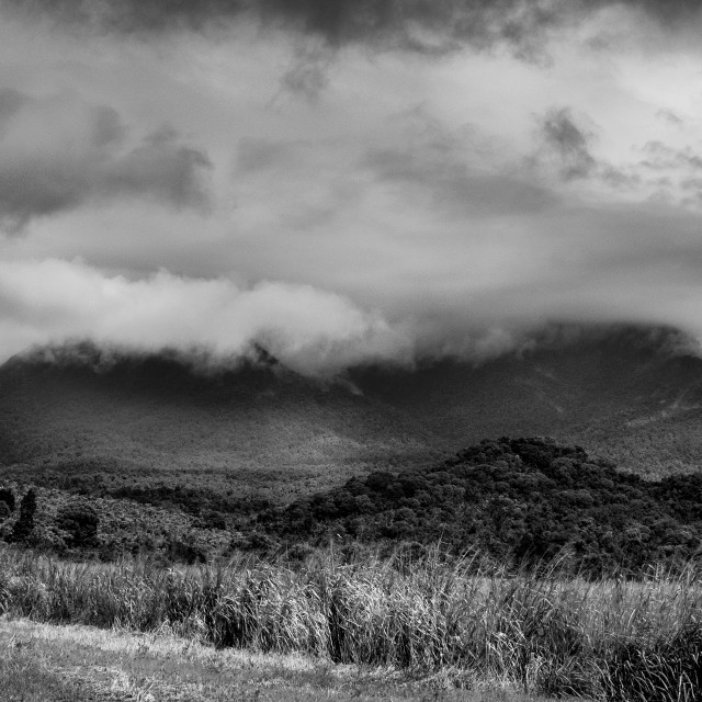 """dramatic landschape in black and white"" stock image"