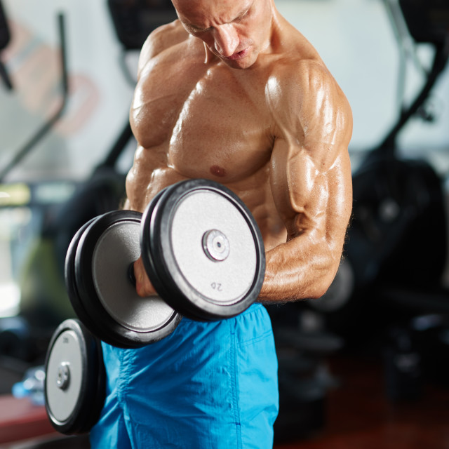 """""""Man doing biceps curl in gym"""" stock image"""