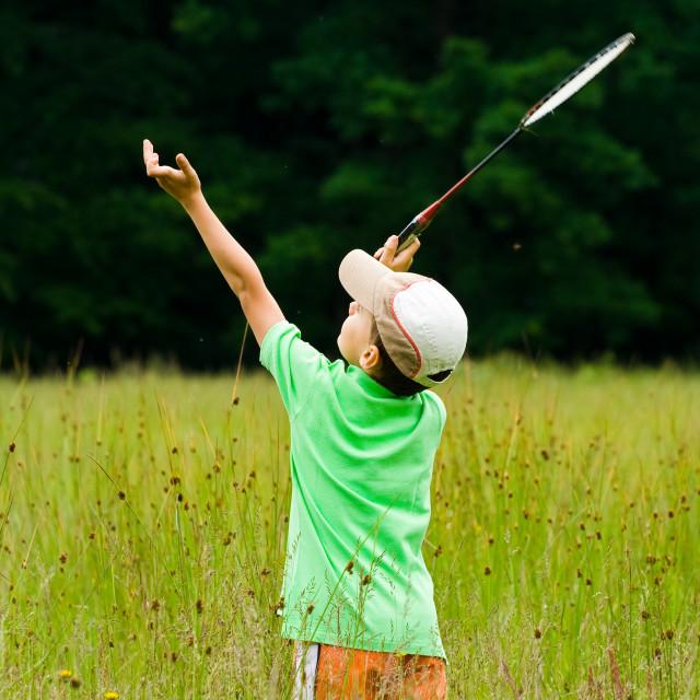 """""""Boy playing badminton"""" stock image"""