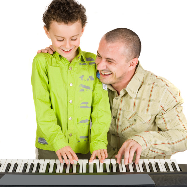 """""""Father and son singing"""" stock image"""