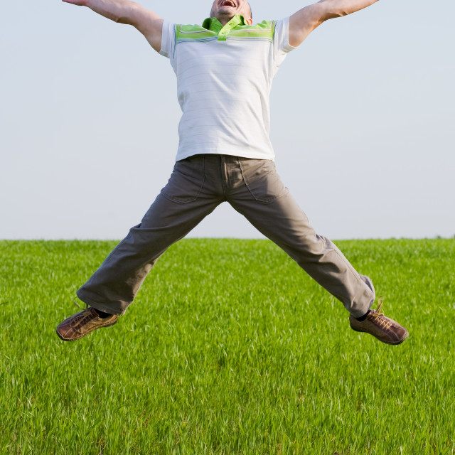 """Happy man in a wheat field"" stock image"