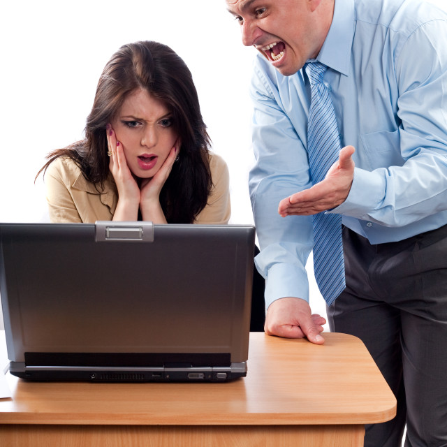 """Boss arguing with an employee"" stock image"