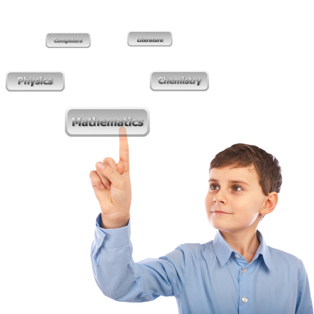 """Child choosing his courses with virtual buttons"" stock image"