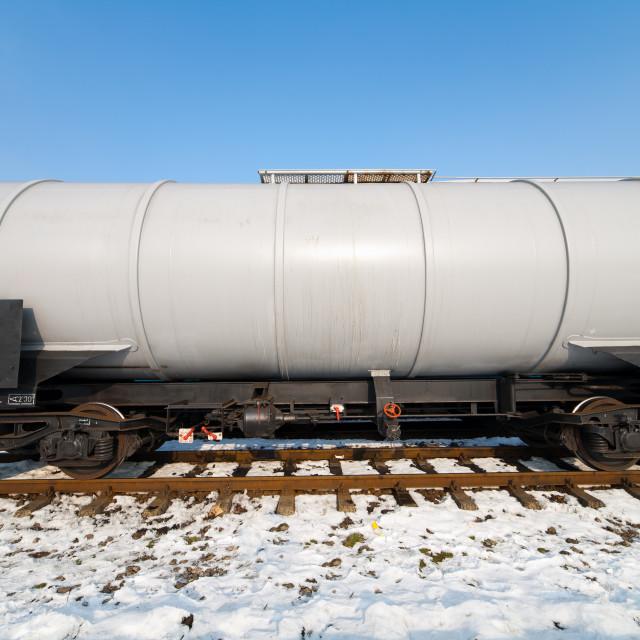 """Petroleum tank on railway"" stock image"
