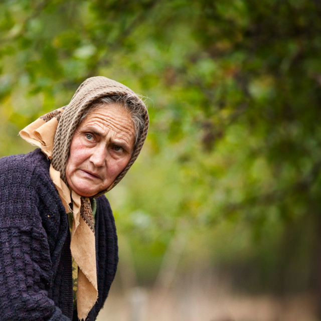 """Expressive old woman outdoor"" stock image"