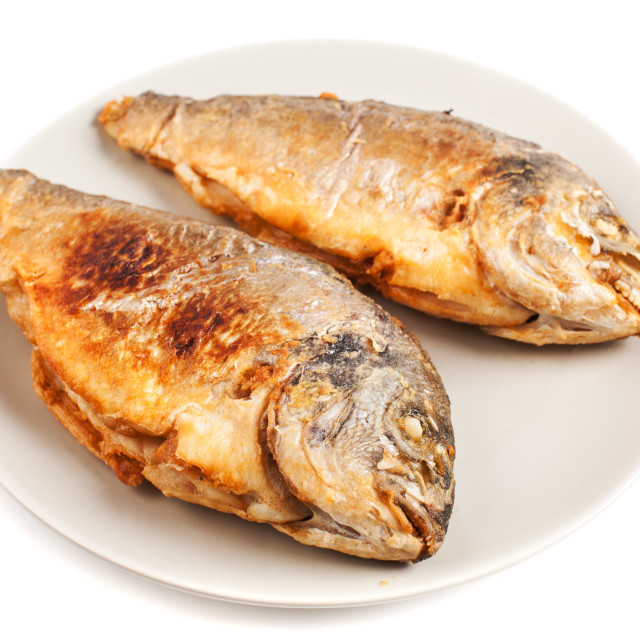 """Roasted gilt head bream"" stock image"
