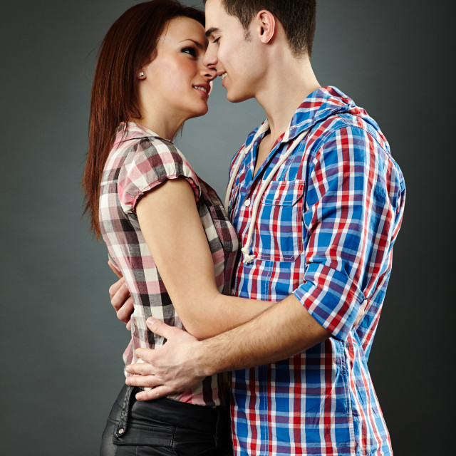 """""""Closeup of passionate young couple embracing"""" stock image"""
