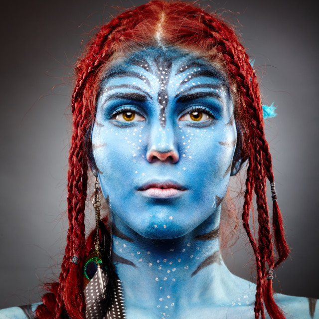 """""""Model with avatar inspired face painting"""" stock image"""