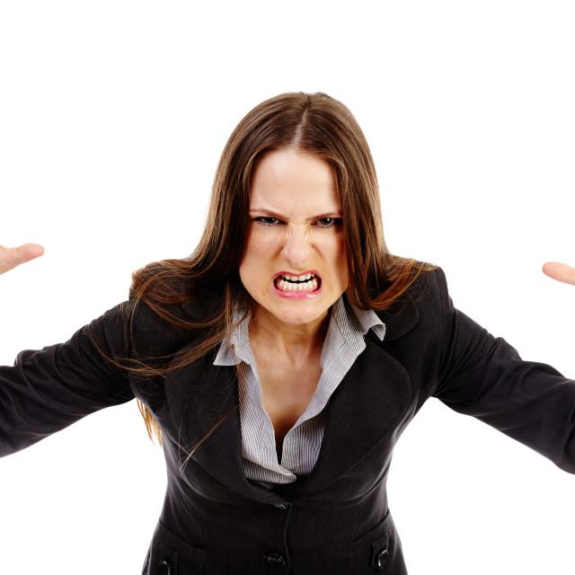 """Furious businesswoman threatening"" stock image"