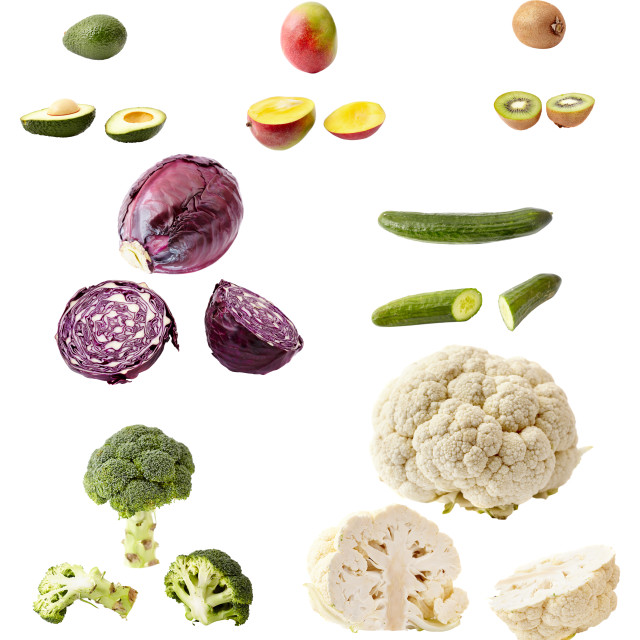 """""""Many vegetables and fruits isolated on white"""" stock image"""