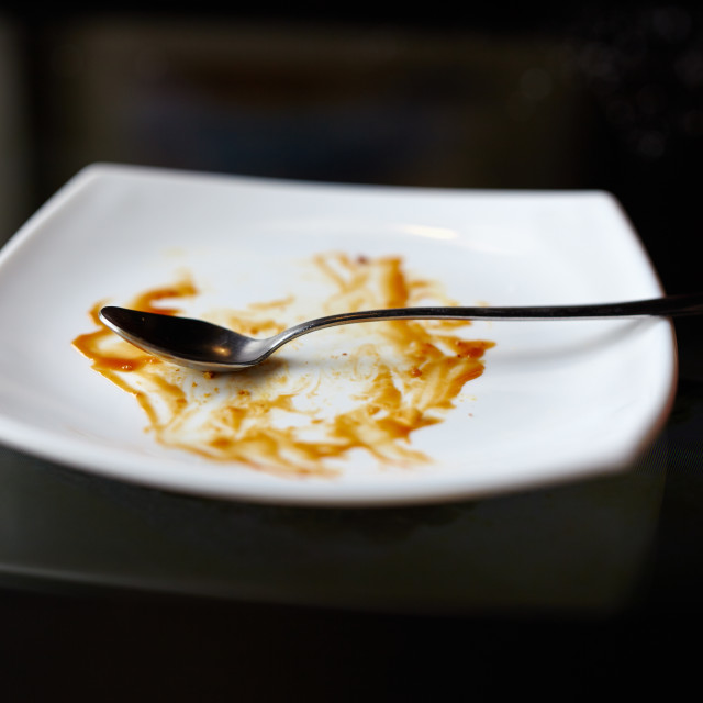 """""""Empty plate with leftovers"""" stock image"""