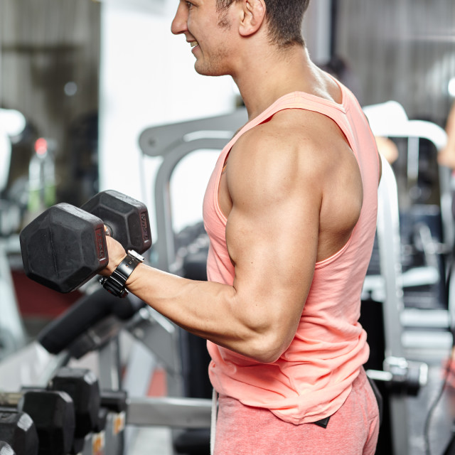 """""""Man doing biceps workout in a gym"""" stock image"""