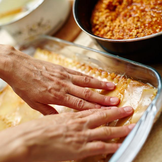 """""""Cooking lasagna at home"""" stock image"""