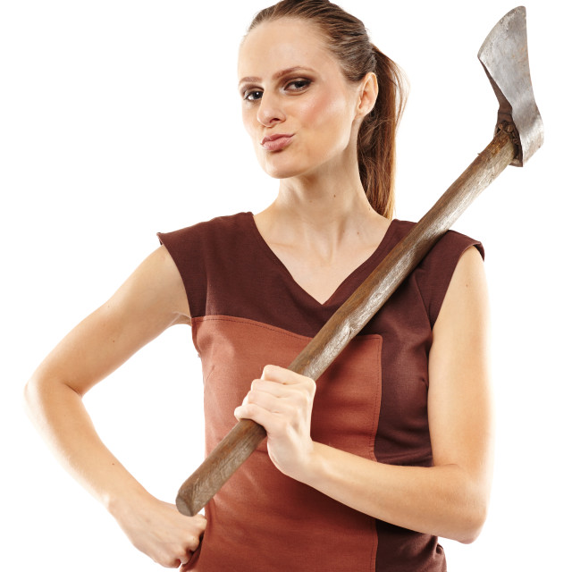 """Crazy girl with axe"" stock image"