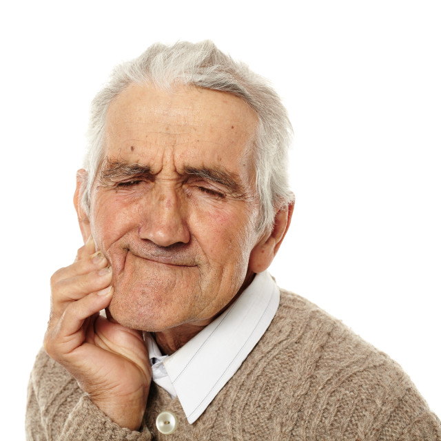 """Old man with tooth ache"" stock image"