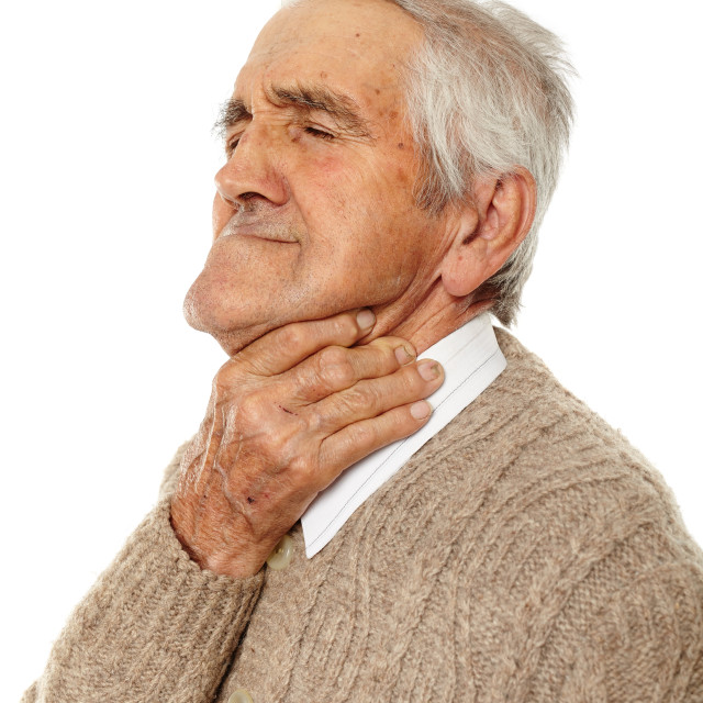 """Old man with sore throat"" stock image"