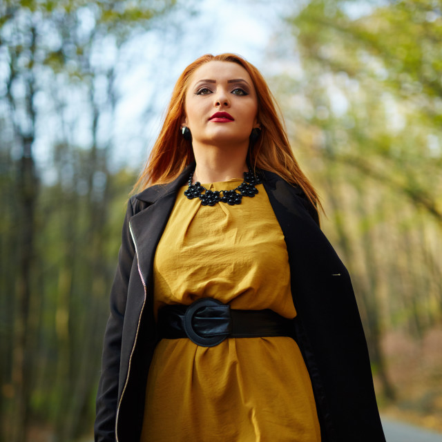 """""""Woman walking in the park"""" stock image"""